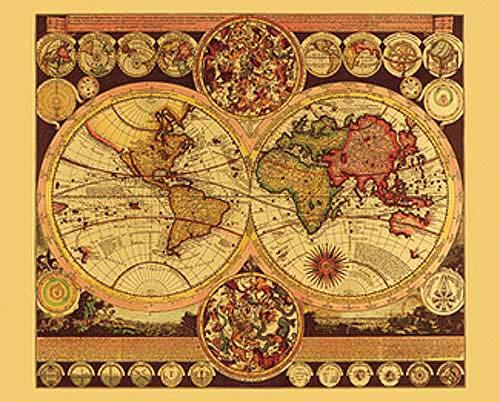 World Map By Peter Schenk The Elder.Historische Weltkarte Von Peter Schnenk Aluminium Dufex