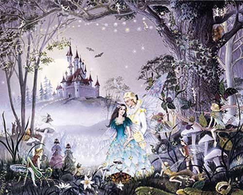Feen und Elfen vorm Schloss Alu Effekt Bild
