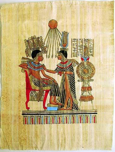 Echnaton und Nofretete Papyrusbild