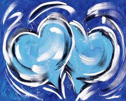 Herzen in Blau