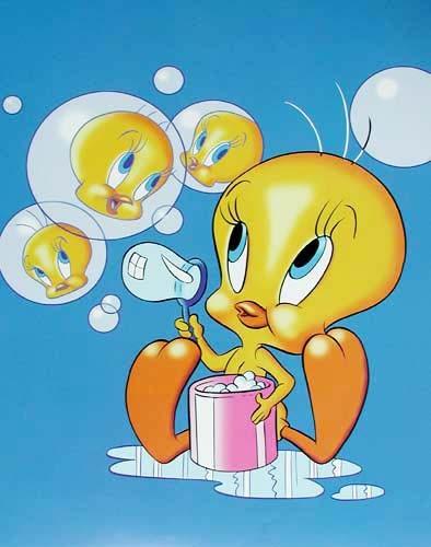 Tweety und Seifenblasen Poster 40x50 cm