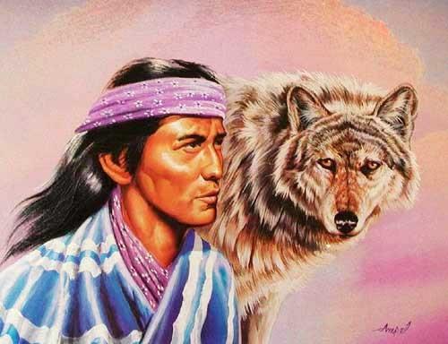 Indianer und Wolf nach rechts Bild