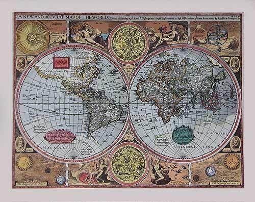 Historische Weltkarte von 1626, Silber - Aludruck 21x26 cm