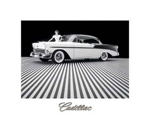 Cadillac in schwarz weiß Poster