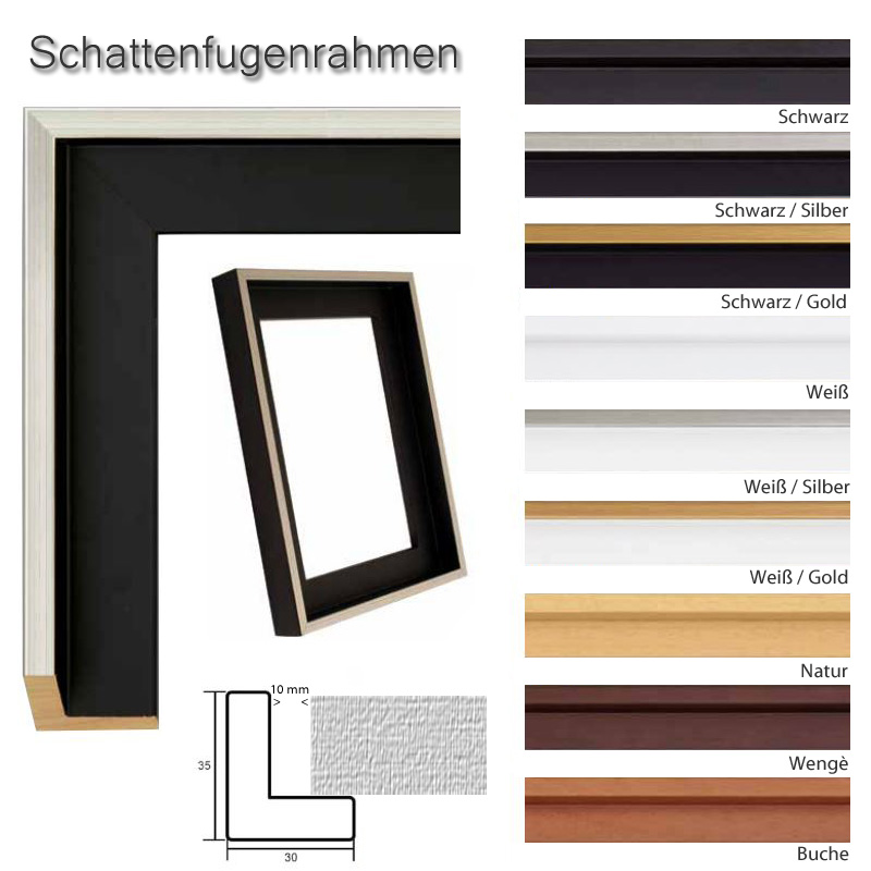 schattenfugenrahmen 50x70 cm schwarz gold oder silber. Black Bedroom Furniture Sets. Home Design Ideas