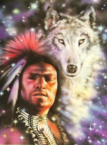 Indianer und Wolf Alubild 16x21