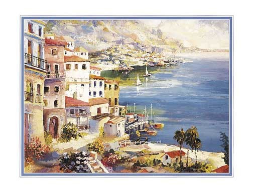 Hafenansicht von Conte Kunstdruck 20x25 cm