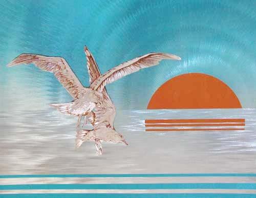 Möwen im Sonnenuntergang turkis