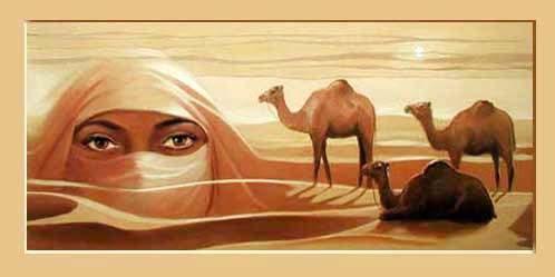 Tuareg mit Kamelen Kunstdruck