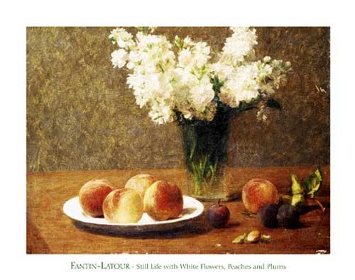 Still Life with White Flowers, Peaches and Plums