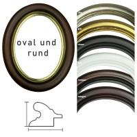 Runde und ovale Bilderrahmen aus Holz in Gold, Silber, Schwarz, Weiß Mahagoni und Nussbaum