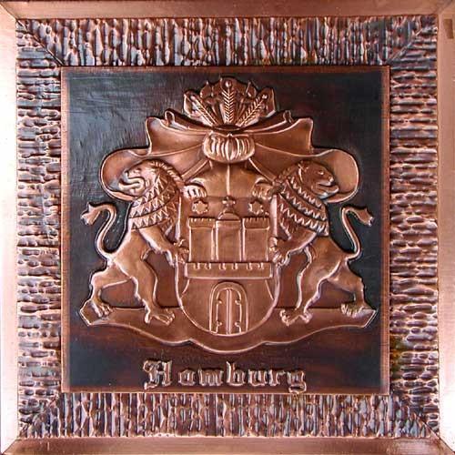 Altes Hamburger Wappen Kupfer Bild