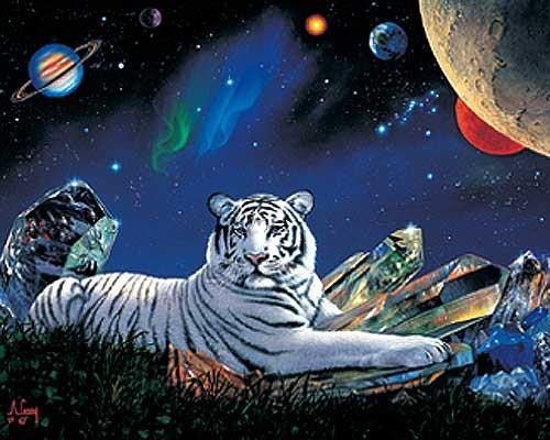 Weißer Tiger Fantasy Alu Druck