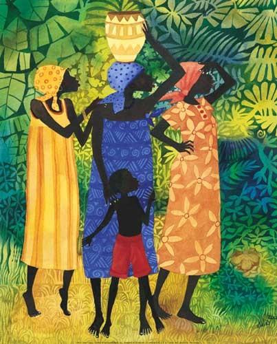 Afrikanische Frauen mit Kind Kunstdruck