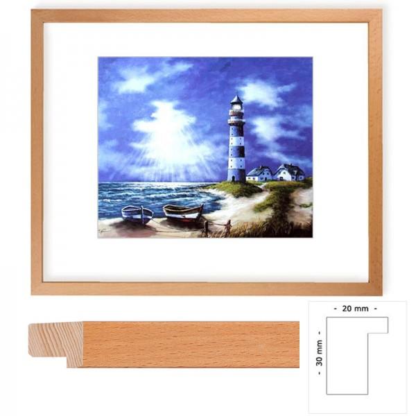 Wandbild Blau-weißer Leuchtturm mit Holzrahmen