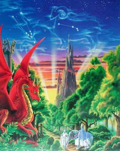 Poster 40x50 cm: Dragon Mountain von Sue Dawe - Sternzeichen Stier, Widder