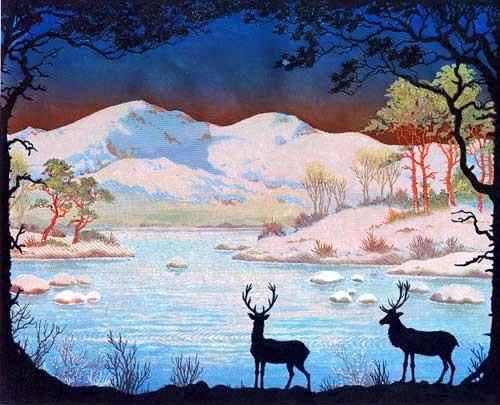 Hirsche im Winter Bild