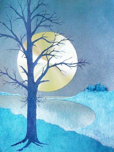 Vollmondnacht mit Baum links, Bild 32x42