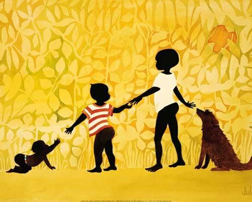 Afrikanische Kinder mit Hund Kunstdruck