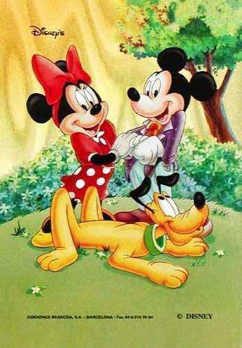 Micky Maus, Mini und Pluto Postkarte