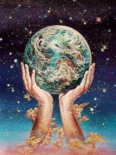 Planet Erde und Engel Alu Bild 16x21 cm