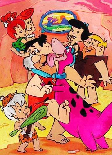 Familie Feuerstein beim Tanzen Postkarte