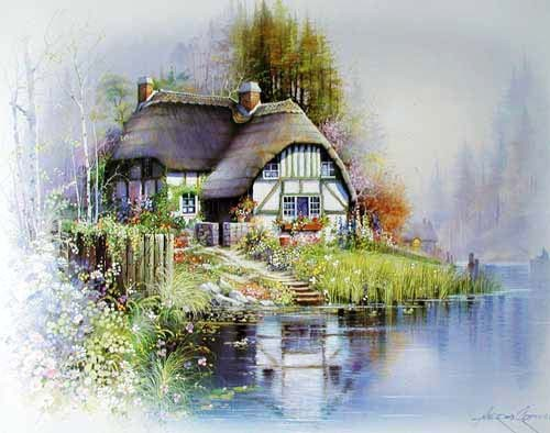 Landhaus mit Reetdach am See, Orpinas Kunstdruck