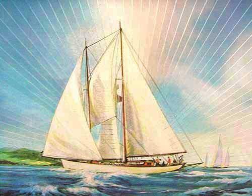 Segelboot im Querformat Alu Druck