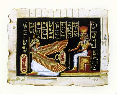 Geflügelte Iris mit Hathor Kunstdruck