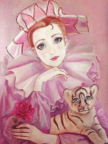Pierrot und weisser Tiger