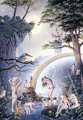 Feen und Elfen beim Baden Postkarte