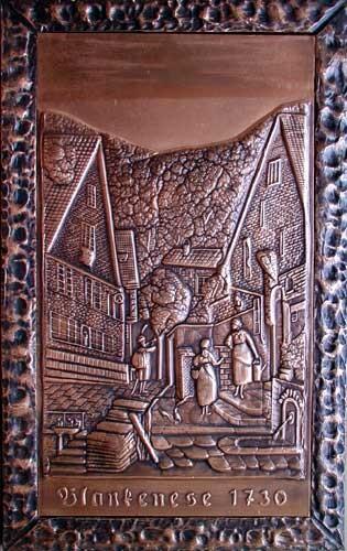 Hamburg, Blankenese um 1730 Kupfer-Relief-Bild