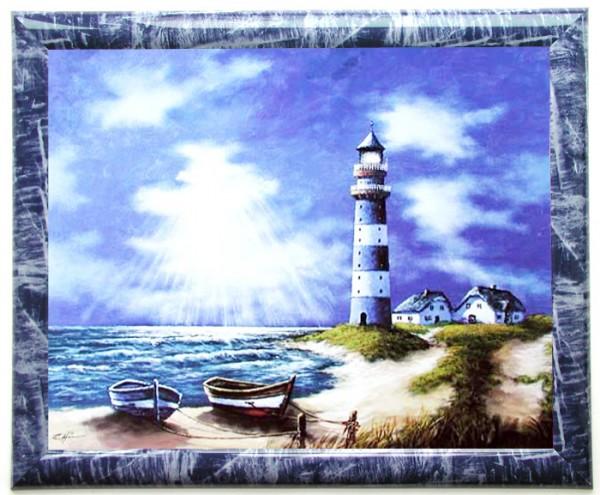 Blauer Leuchtturm- Wandbild 50x60 cm