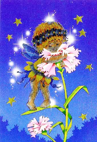Kleine Fee mit der Nelke Postkarte