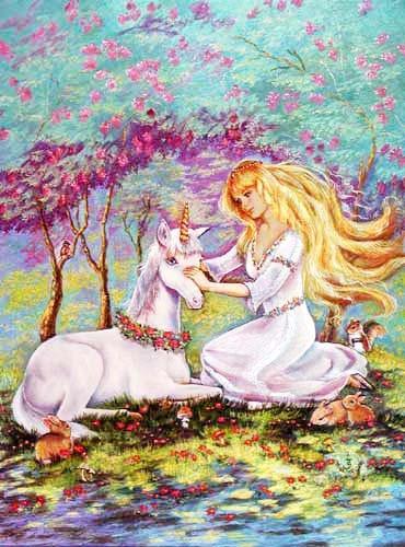 Weisses Einhorn und Mädchen auf einer Wiese Bild