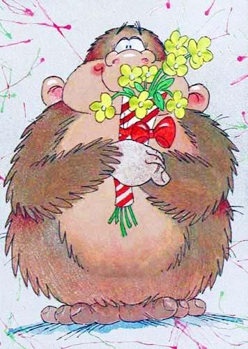 Affe mit Blumenstrauß