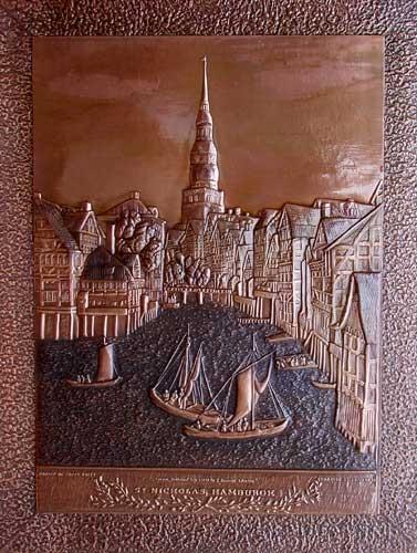 Alt-Hamburg mit St. Nicolai Kirche- Kupferbild