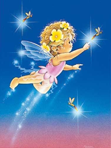 Kleine Nachtfee und Grühwürmchen Postkarte