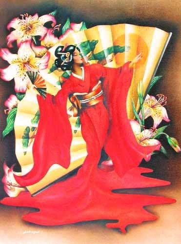 Japanerin mit Fächer Alu Bild / Poster 32x42 cm
