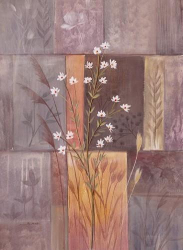 Weißer Blumenstrauch Abstrakt, Kunstdruck