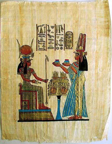 Nefertari und Hathor Papyrusbild