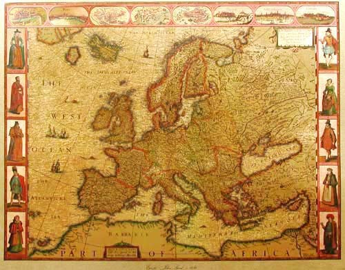 Historische Weltkarte von Europe, John Speed
