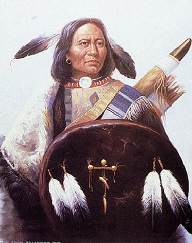Indianer-Häuptling mit Schild Poster