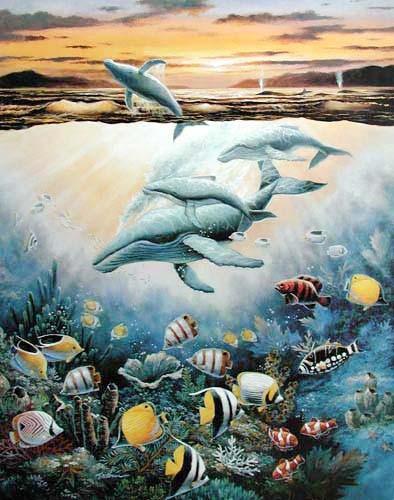 Wale und tropische Fische by Chiu