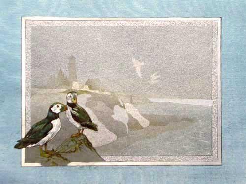 Leuchtturm und Seevögel