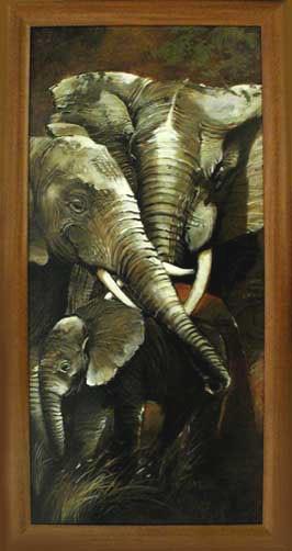 Wandbild Elefanten (Hochformat)