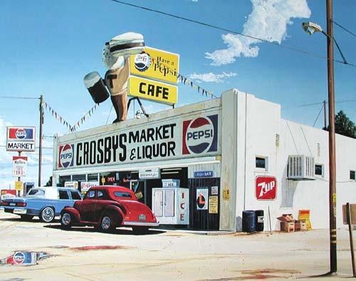 Alter Supermarkt mit Oldtimer Poster