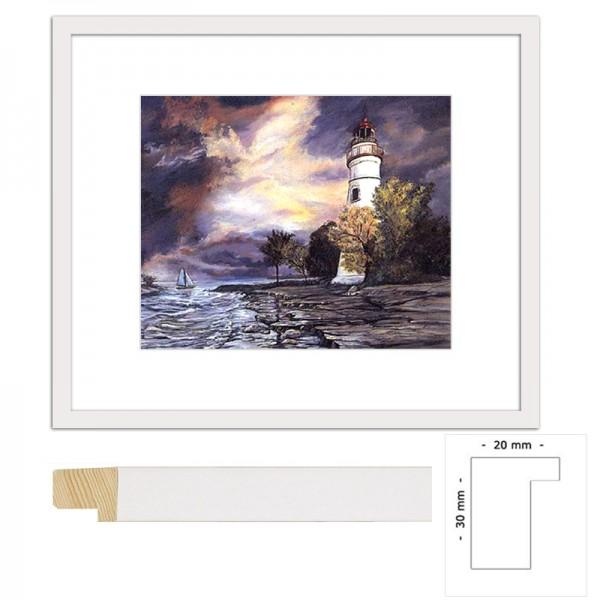 Wandbild Weißer Leuchtturm mit weißem Holzrahmen