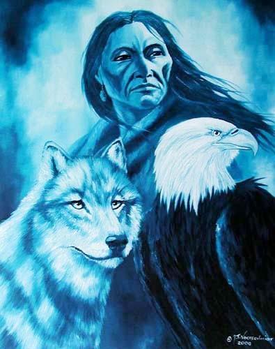 Indianer mit Wolf und Adler by J.T.Vogtschmidt