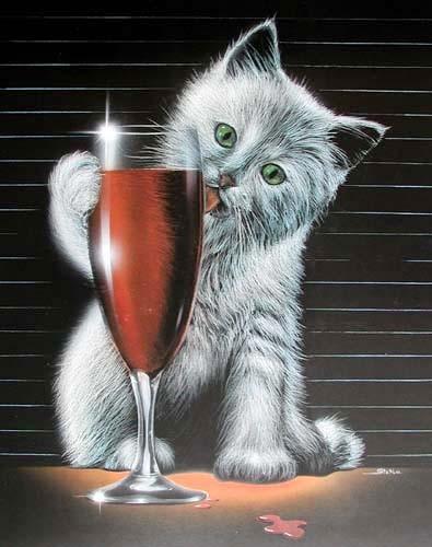 Katze und Sektglas*